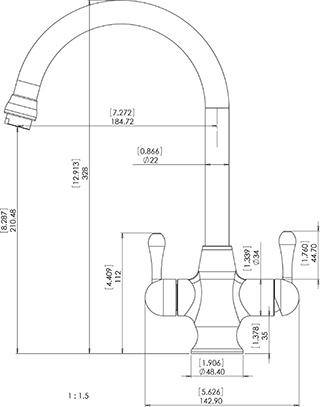 FC212 3-utas, konyhai víztisztító csaptelep méretei