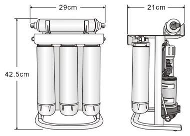 PurePro ERS105-105P RO víztisztító  méretei