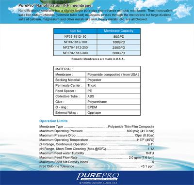 PurePro nano membrán termék jellemzők, műszaki adatok