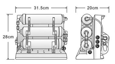 PurePro M500 RO víztisztító  méretei