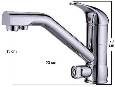 FC207 3-utas, víztisztító csaptelep méretei