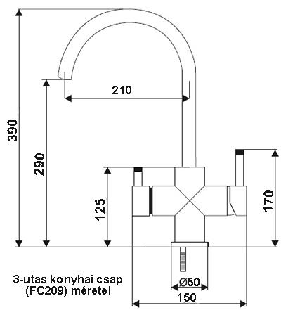 FC209 3-utas, konyhai víztisztító csaptelep méretei